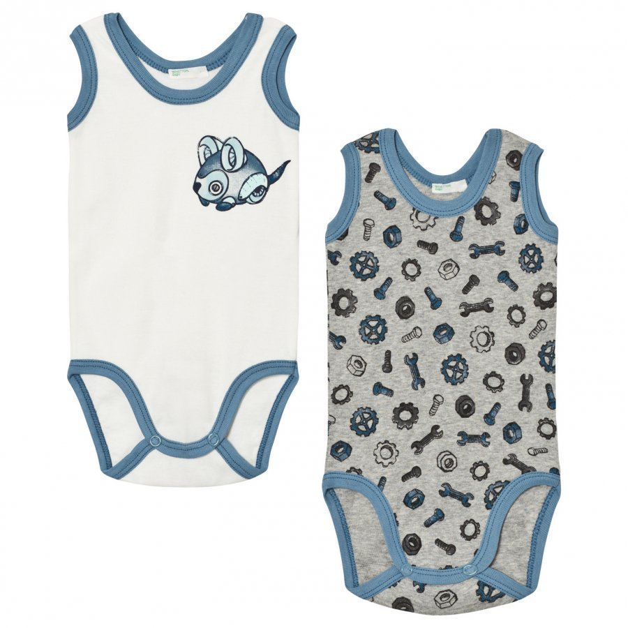 United Colors Of Benetton 2-Pack Sleeveless Printed Baby Body Cream/Grey Body