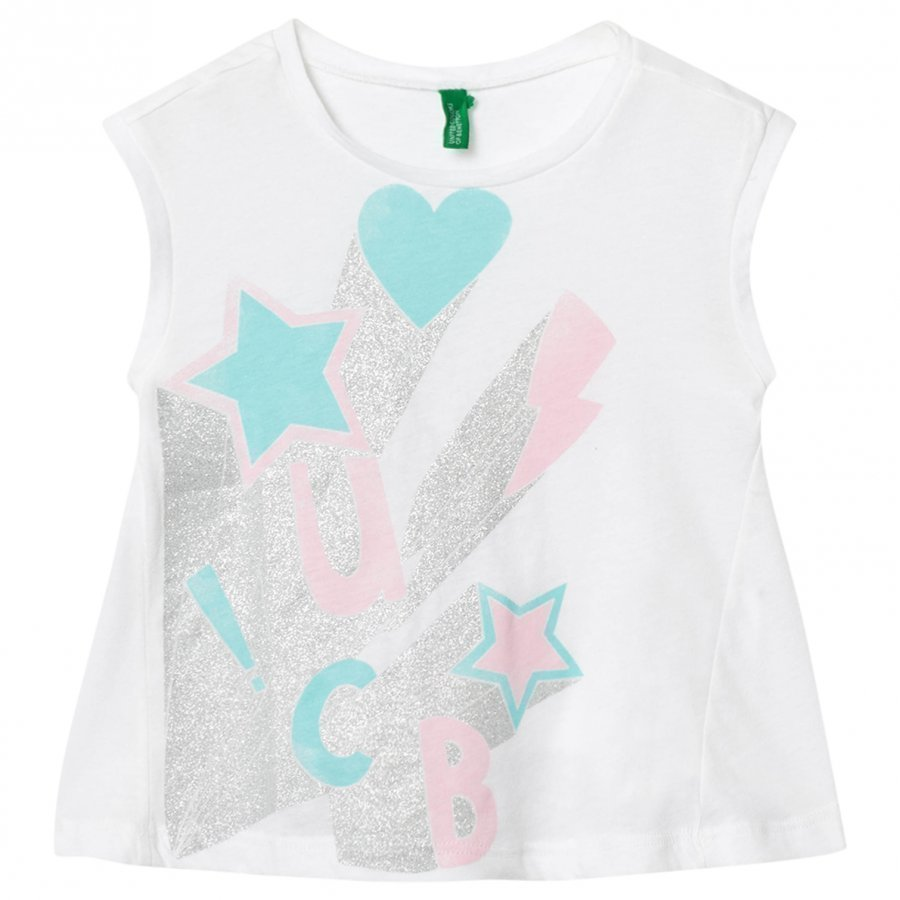 United Colors Of Benetton A-Line Fit Sparkle Print White T-Shirt T-Paita