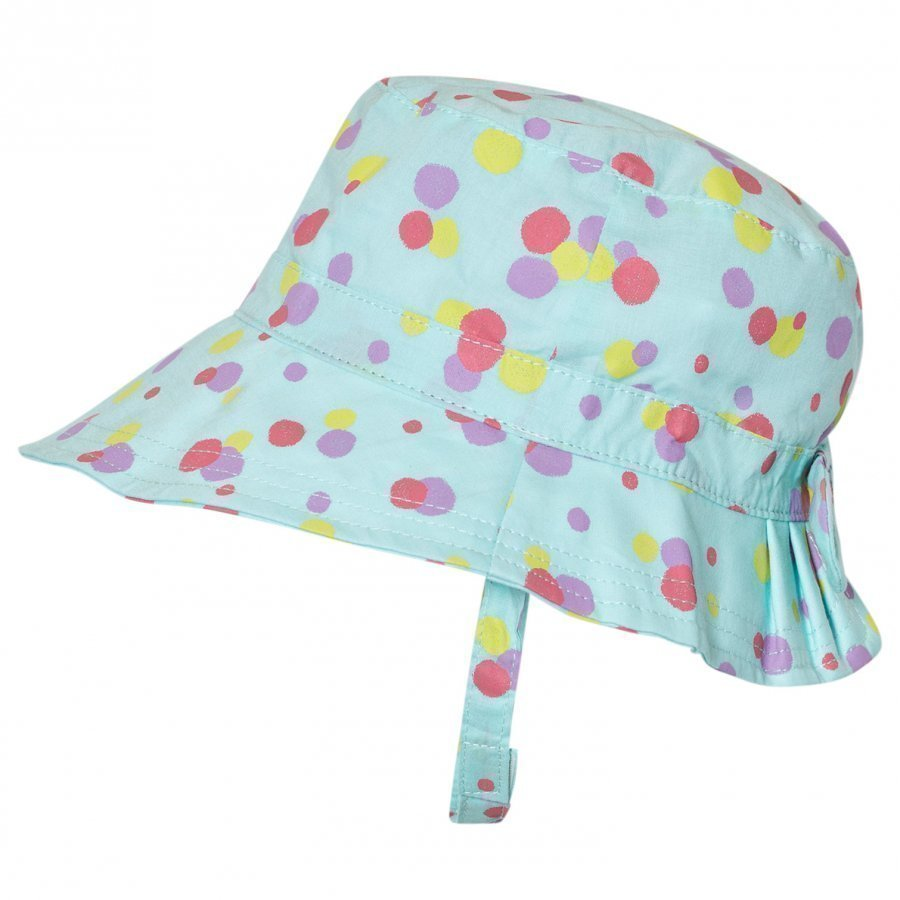 United Colors Of Benetton Aqua Blue Polka Dot Sun Hat With Chin Strap Aurinkohattu