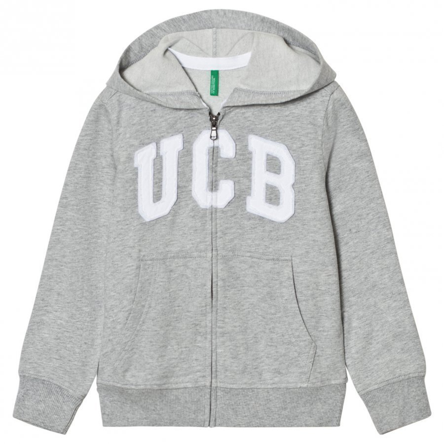 United Colors Of Benetton Basic Jersey Logo Zip Hoodie With Pockets Light Grey Huppari