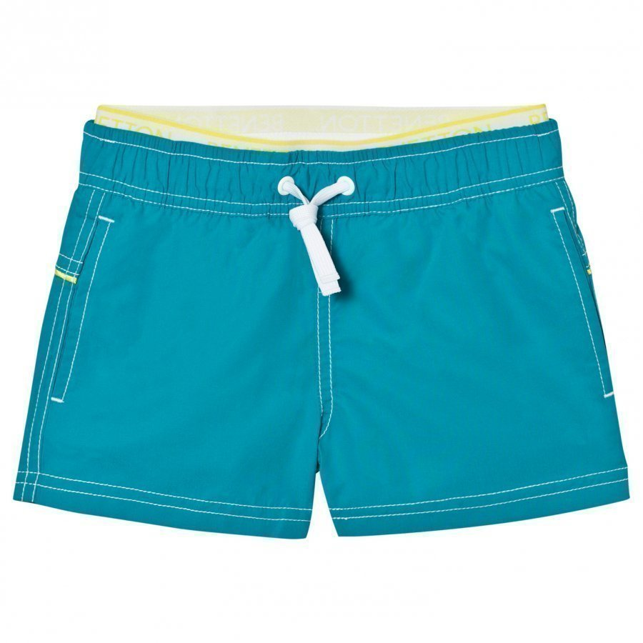United Colors Of Benetton Blue Swim Shorts With Logo Waist Band Uimashortsit