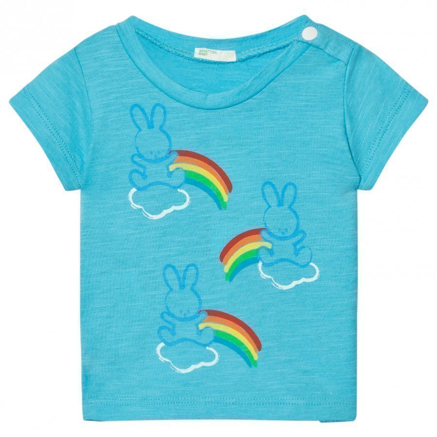 United Colors Of Benetton Bunny Cloud Print T-Shirt Bright Blue T-Paita