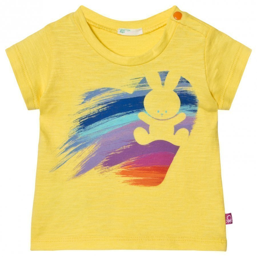 United Colors Of Benetton Bunny Heart Print T-Shirt Yellow T-Paita