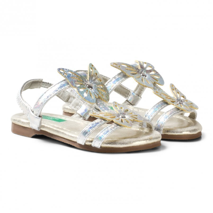 United Colors Of Benetton Butterfly Sandals With Ankle Strap Silver Remmisandaalit