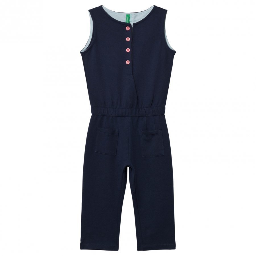 United Colors Of Benetton Button Neck Jumpsuit Navy Liivi