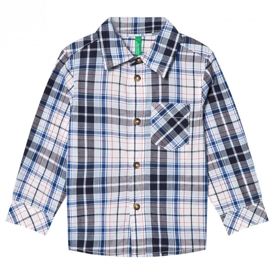 United Colors Of Benetton Casual Check Shirt Navy Kauluspaita