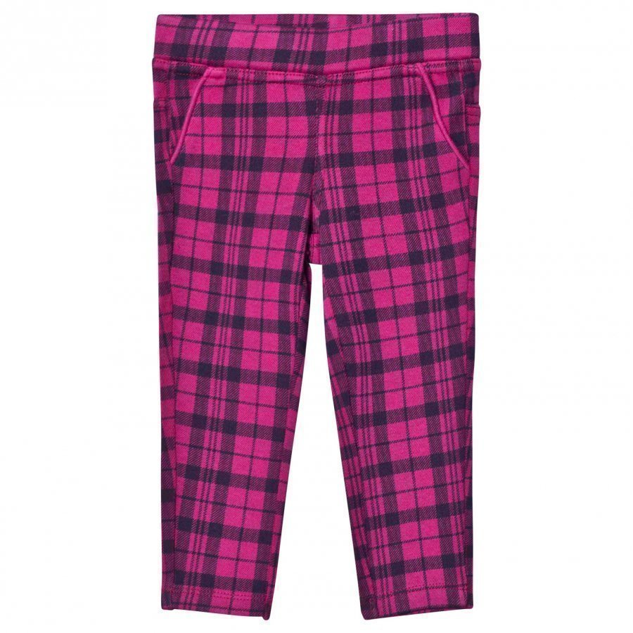 United Colors Of Benetton Cerise And Black Plaid Trousers Housut