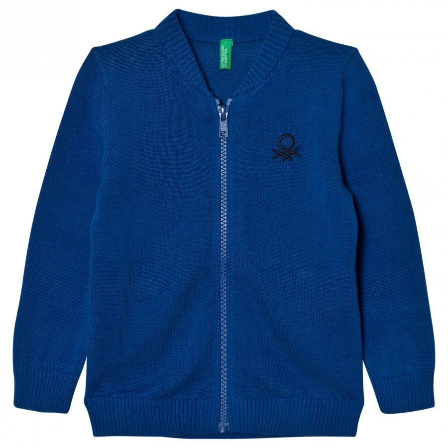 United Colors Of Benetton Classic Knit Zip Logo Sweater Blue Paita