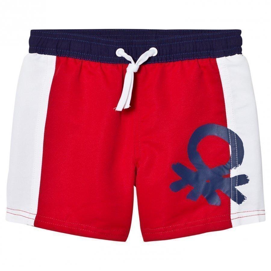 United Colors Of Benetton Color Block Swim Shorts With Logo Red/White Uimashortsit