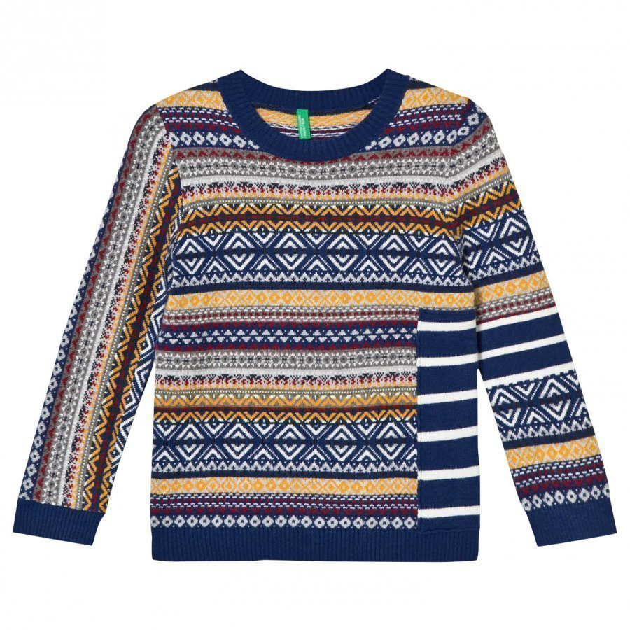 United Colors Of Benetton Cotton Blend Sweater Navy Multi Paita