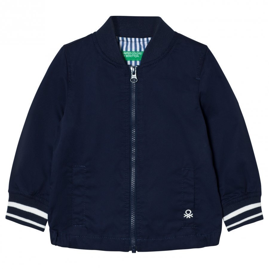 United Colors Of Benetton Cotton Bomber Jacket Navy Bomber Takki