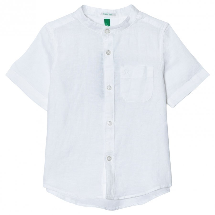 United Colors Of Benetton Cotton Linen S/S Collarless Shirt White Kauluspaita
