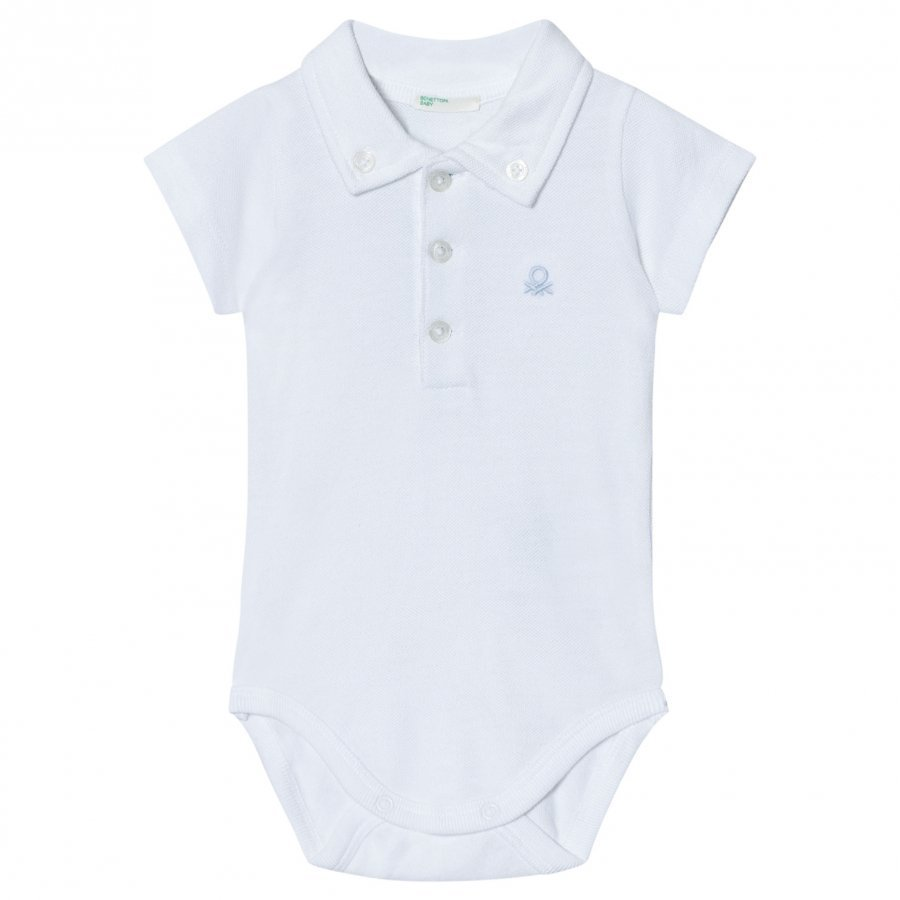 United Colors Of Benetton Cotton Polo Baby Body With Collars In White T-Paita