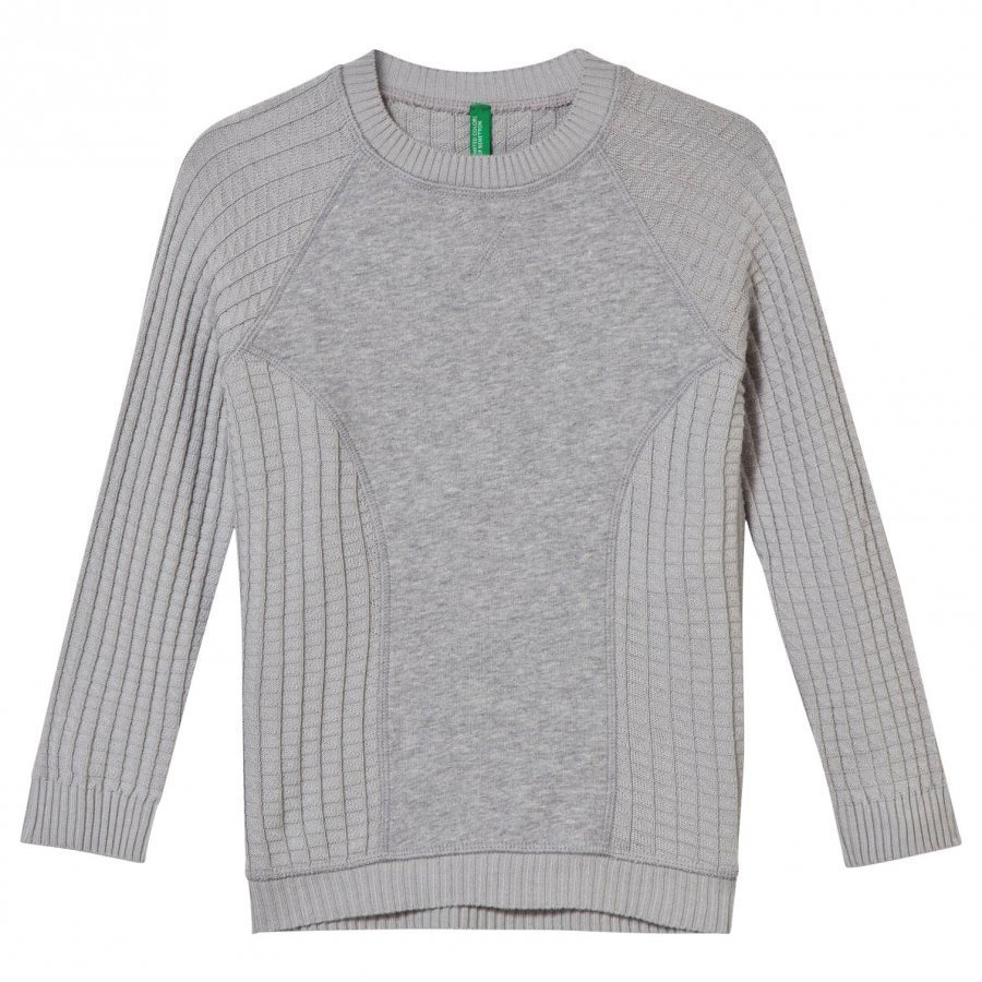 United Colors Of Benetton Crewneck Sweater With Panel Grey Paita