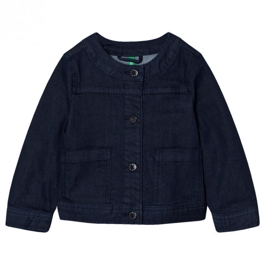 United Colors Of Benetton Cropped Denim Jacket Navy Farkkutakki