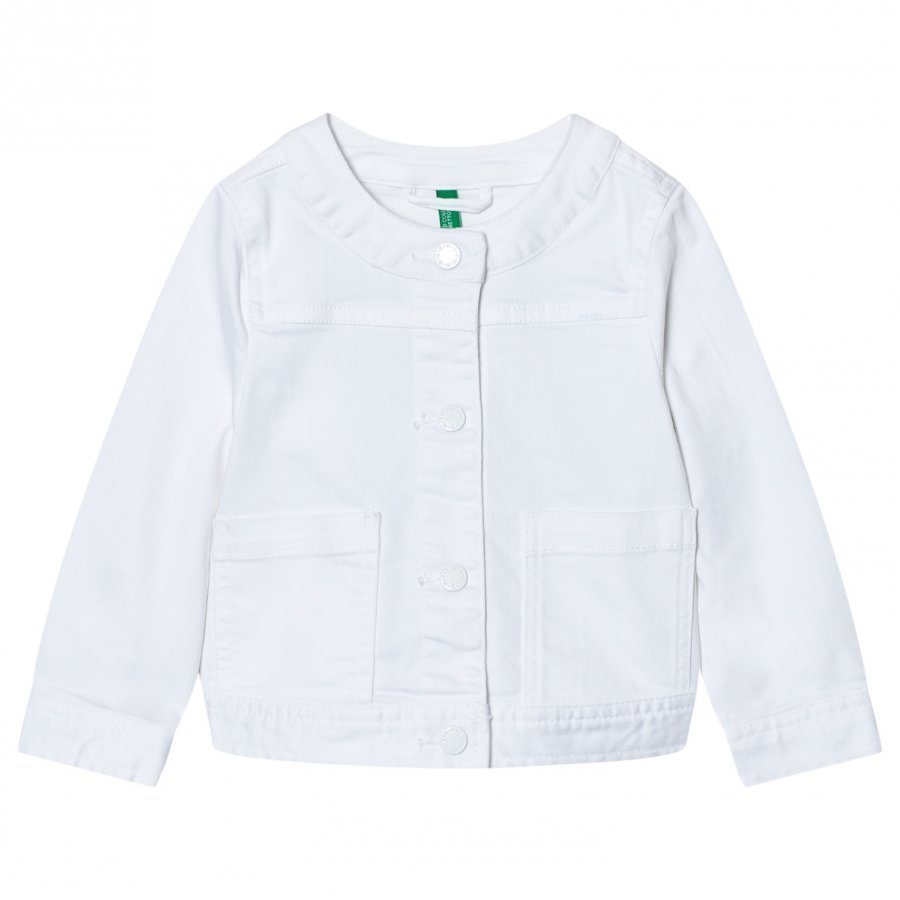 United Colors Of Benetton Cropped Denim Jacket White Farkkutakki