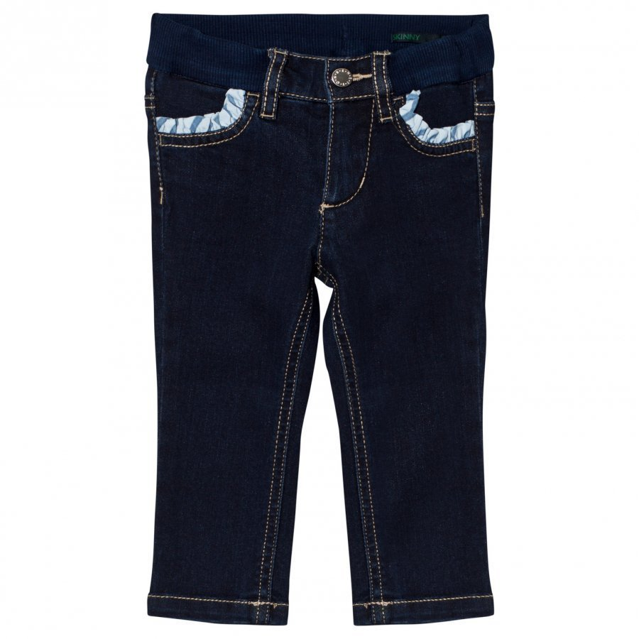 United Colors Of Benetton Dark Wash Skinny Denim With Frill Pockets Indigo Farkkushortsit