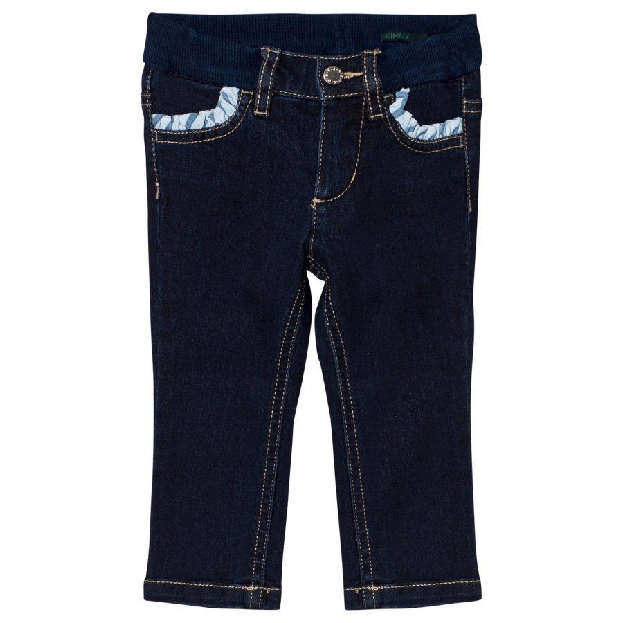 United Colors Of Benetton Dark Wash Skinny Denim With Frill Pockets Indigo Farkkushortsit