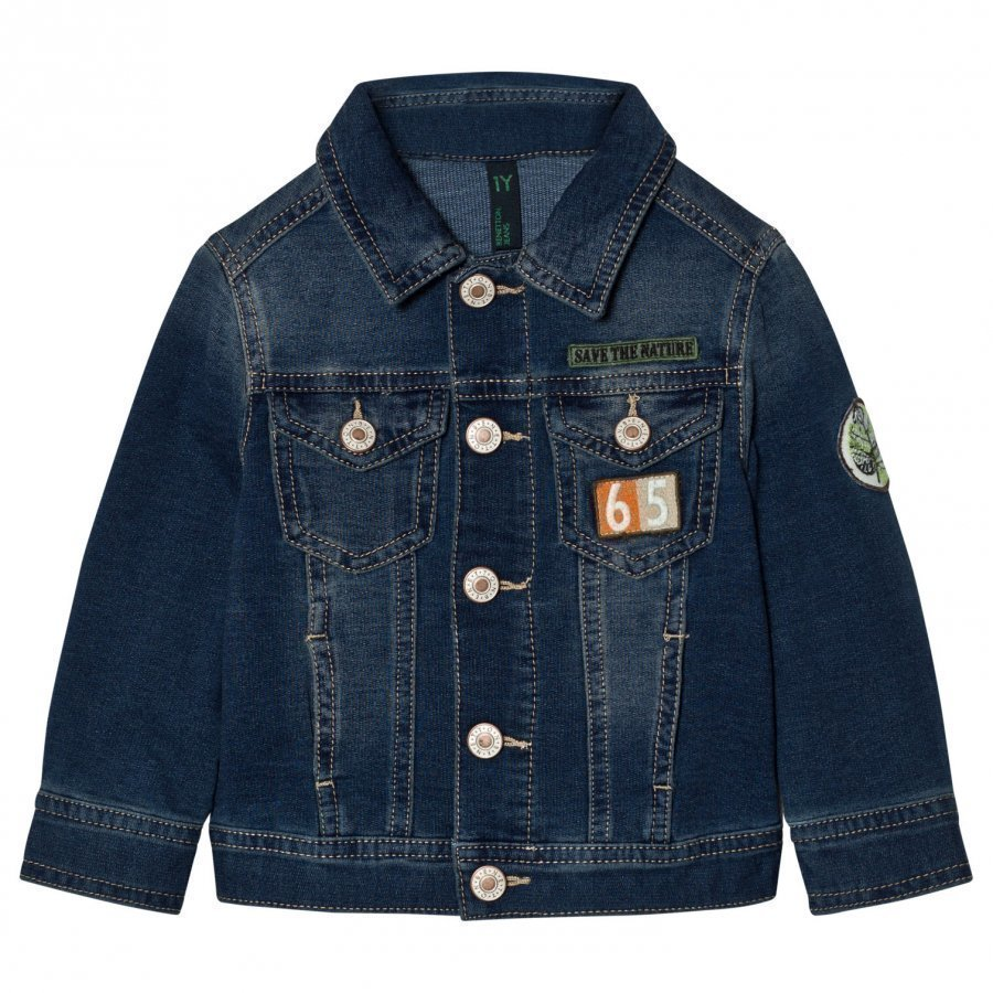 United Colors Of Benetton Denim Jacket With Patches Blue Farkkutakki