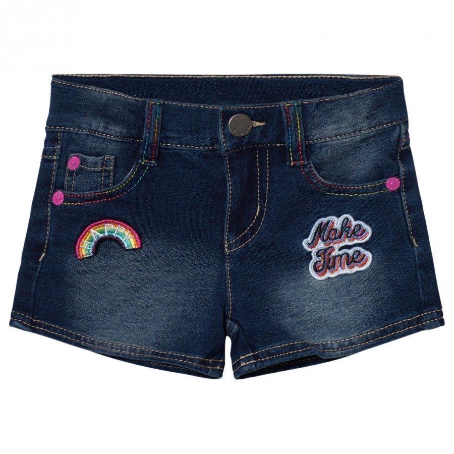 United Colors Of Benetton Denim Shorts With Rainbow Stitchingith Patches And Multi Coloured Stitch Blue Farkkushortsit