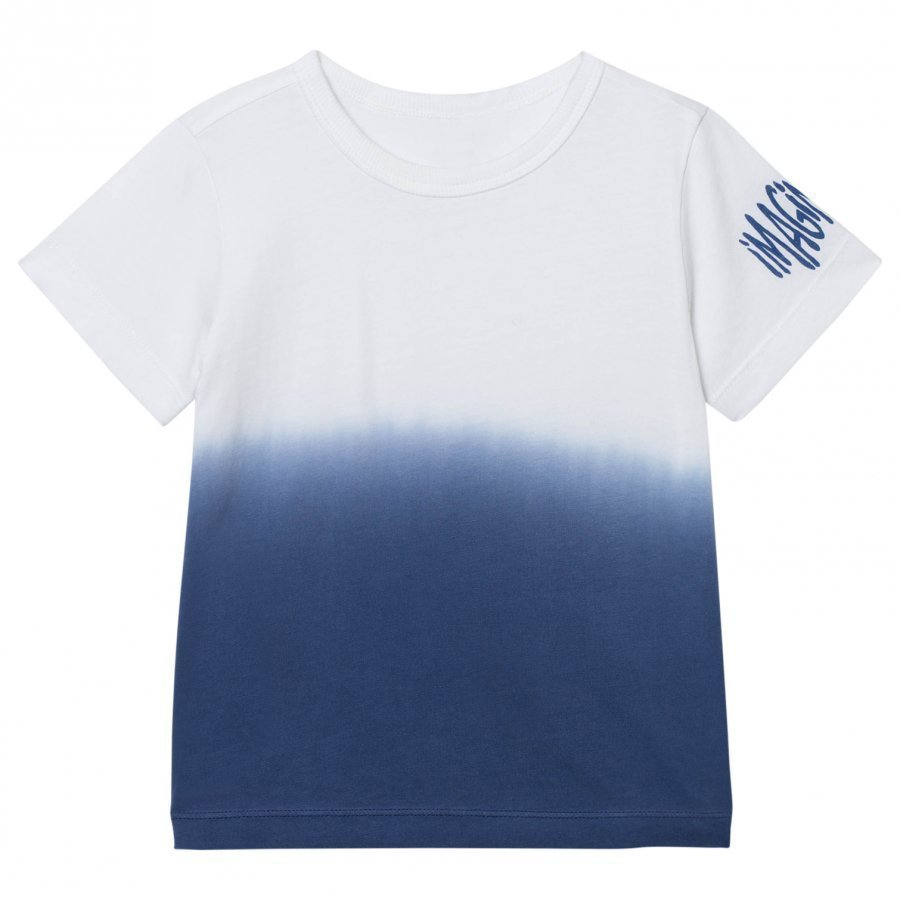United Colors Of Benetton Dip Dye Tee White/Blue T-Paita
