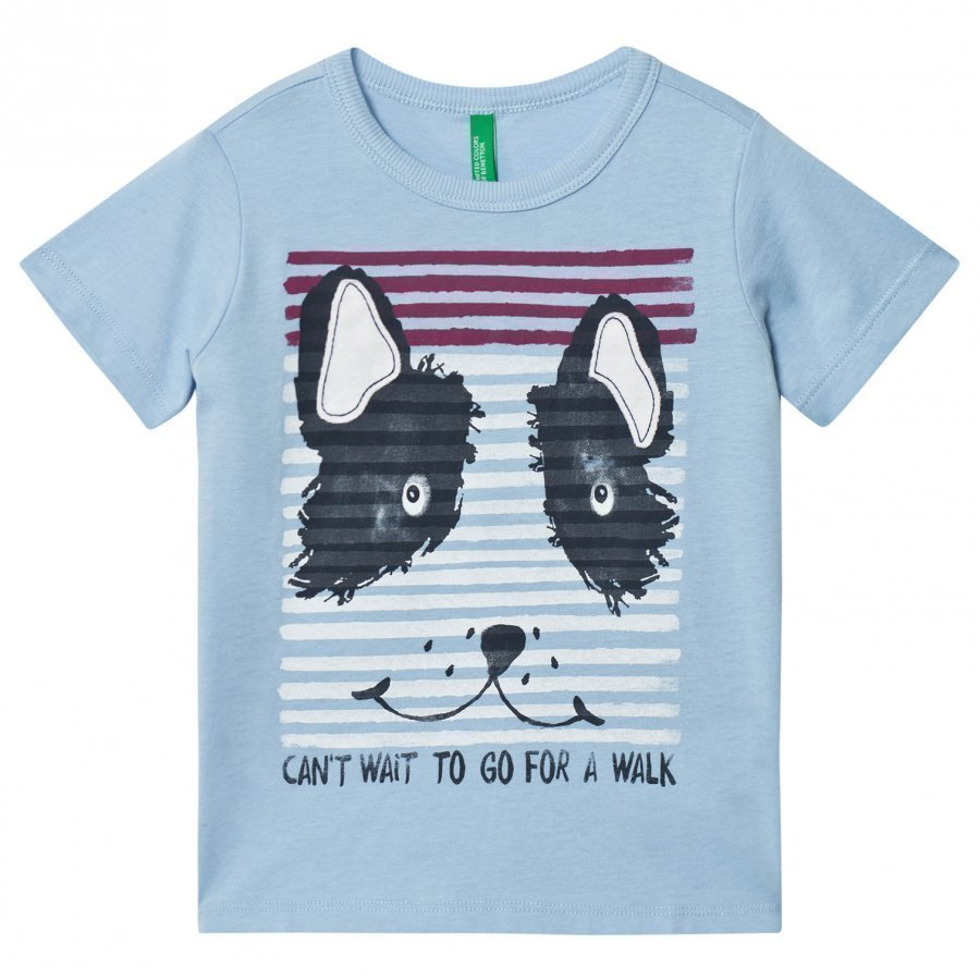 United Colors Of Benetton Dog Print Tee Blue T-Paita