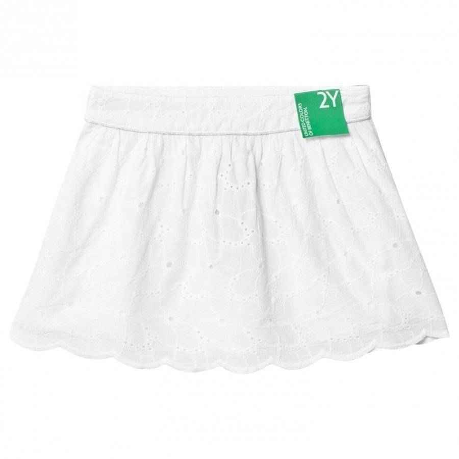 United Colors Of Benetton Embroidered Skirt White Midihame