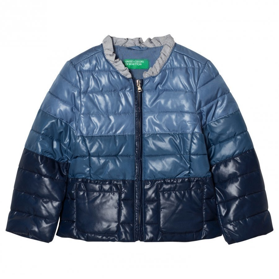 United Colors Of Benetton Fade Dye Puffer Jacket Navy Toppatakki