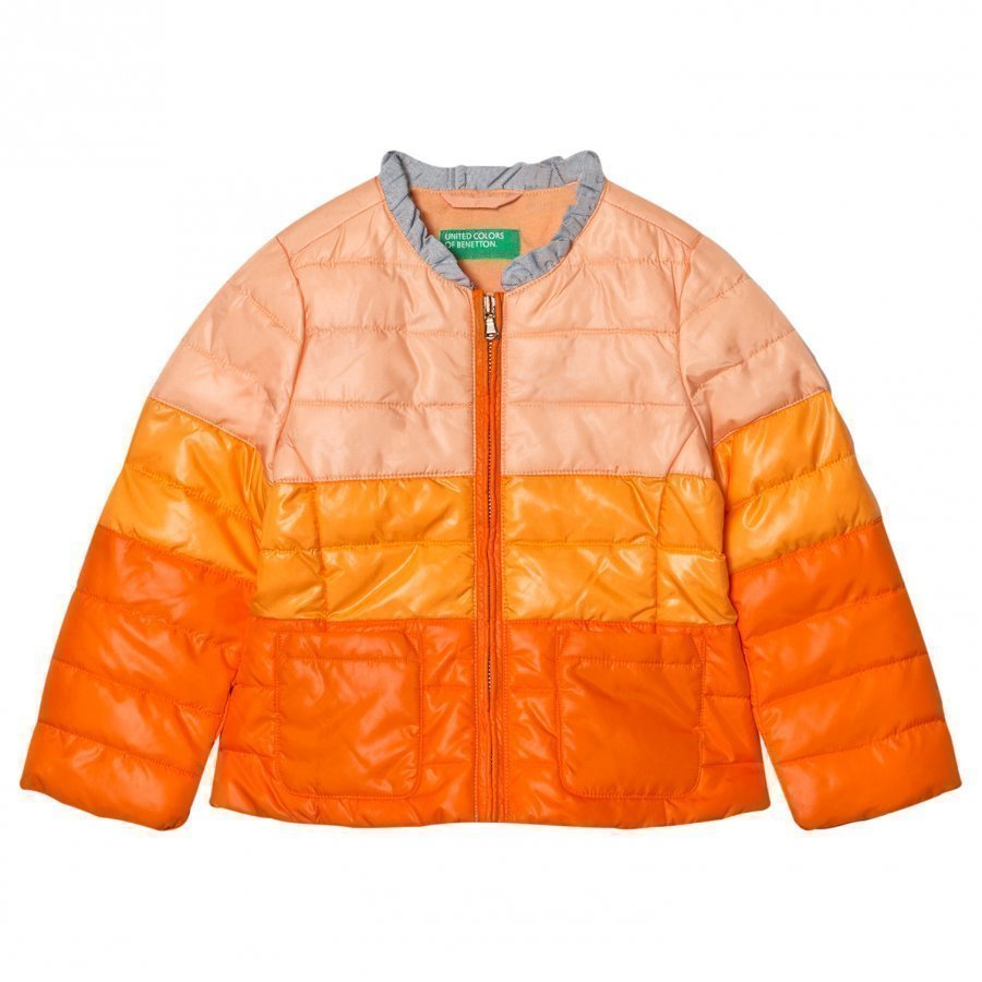 United Colors Of Benetton Fade Dye Puffer Jacket Orange Toppatakki