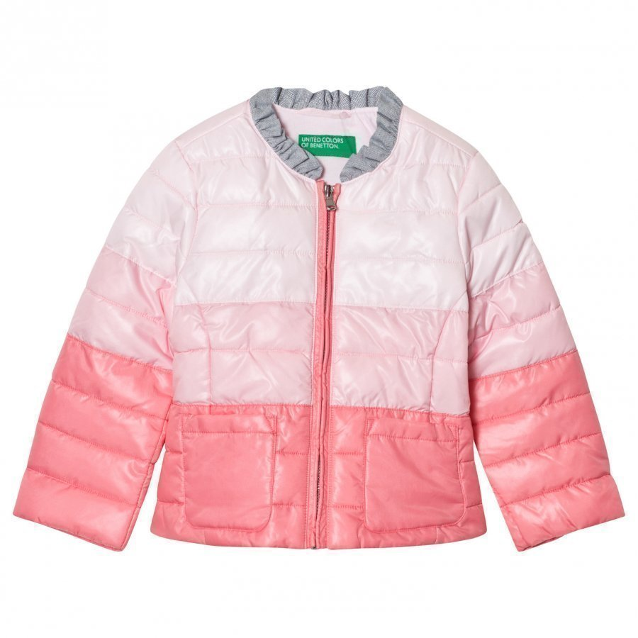 United Colors Of Benetton Fade Dye Puffer Jacket Pink Toppatakki