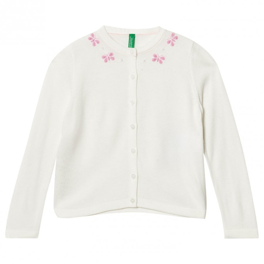 United Colors Of Benetton Fine Knit White Cardigan With Butterfly Details Neuletakki