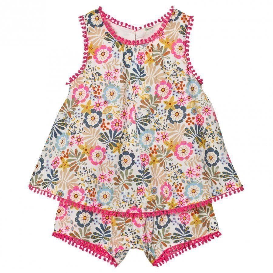 United Colors Of Benetton Floral Print Romper With Embroidered Details Romper Puku