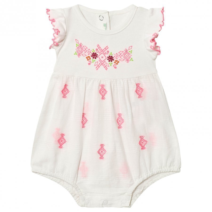 United Colors Of Benetton Frill Sleeve Romper With Embroidery Romper Puku
