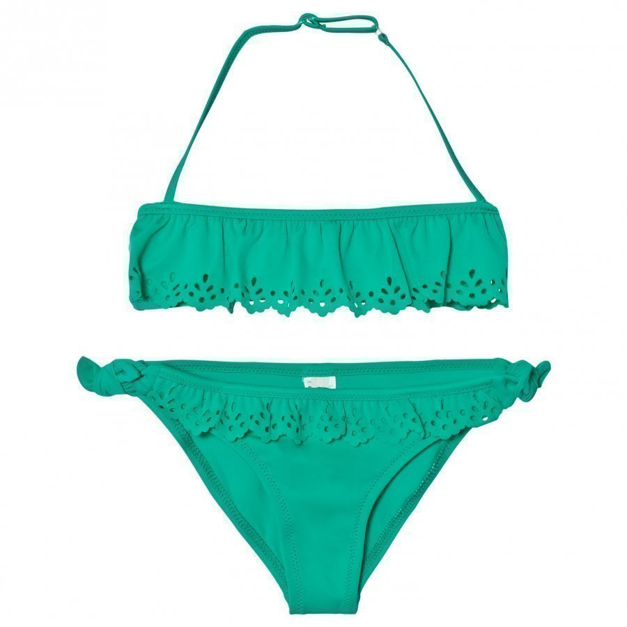 United Colors Of Benetton Frilly Halter Neck Bikini Set Green Bikinit