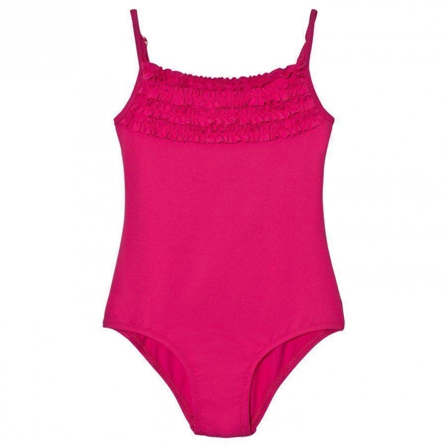 United Colors Of Benetton Fuchsia Swimsuit With Frill Neckline Uimapuku
