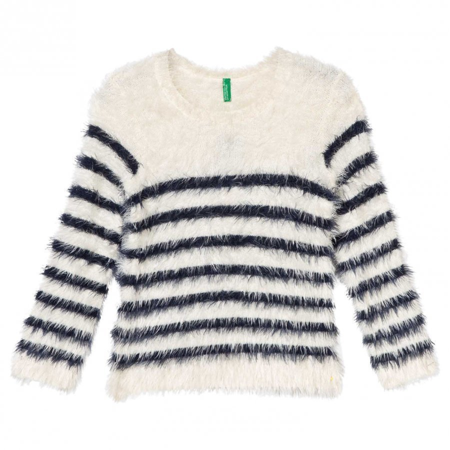 United Colors Of Benetton Fuzzy Sweater Off White/Navy Paita