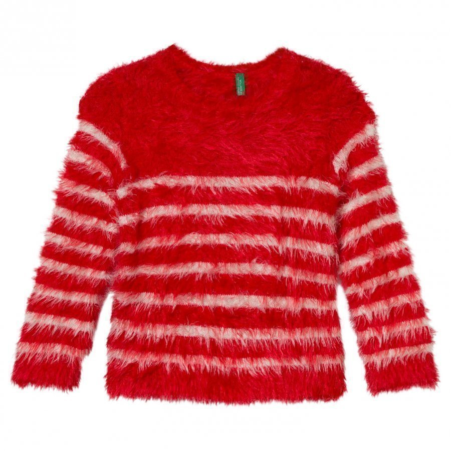 United Colors Of Benetton Fuzzy Sweater Red/Off White Paita