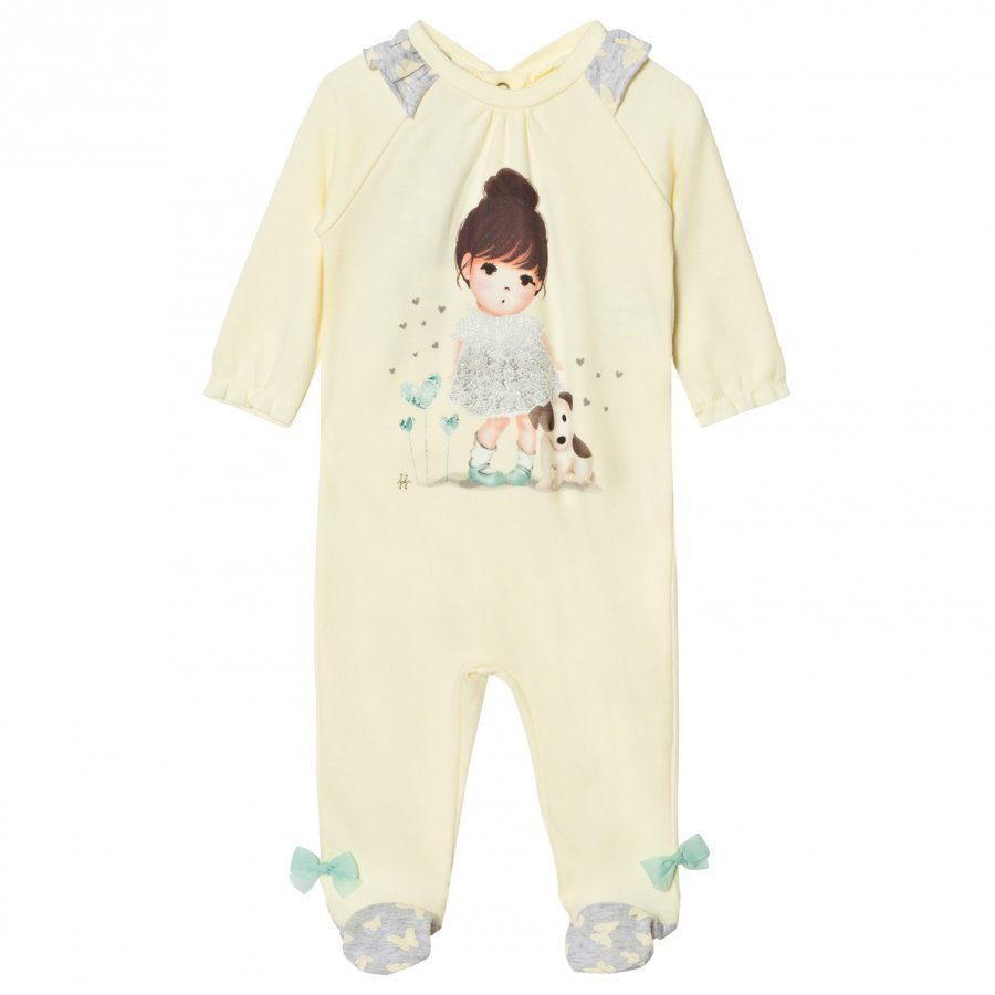 United Colors Of Benetton Girl Print L/S Overall With Frill Shoulder Details Pyjamas Lemon Yöpuku