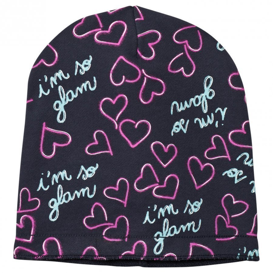 United Colors Of Benetton Glam Print Beanie Hat Dark Grey Pipo