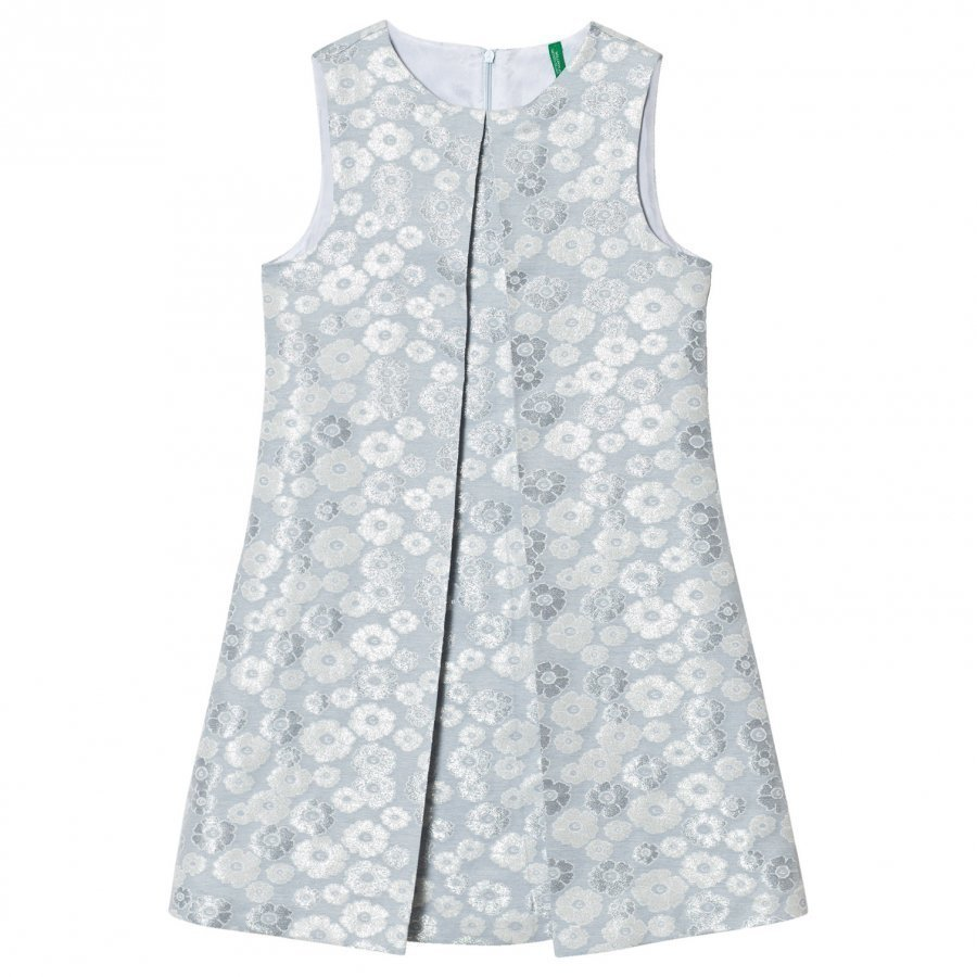 United Colors Of Benetton Glitter Floral Print Sleeveless Dress With Plete Front Silver Blue Mekko