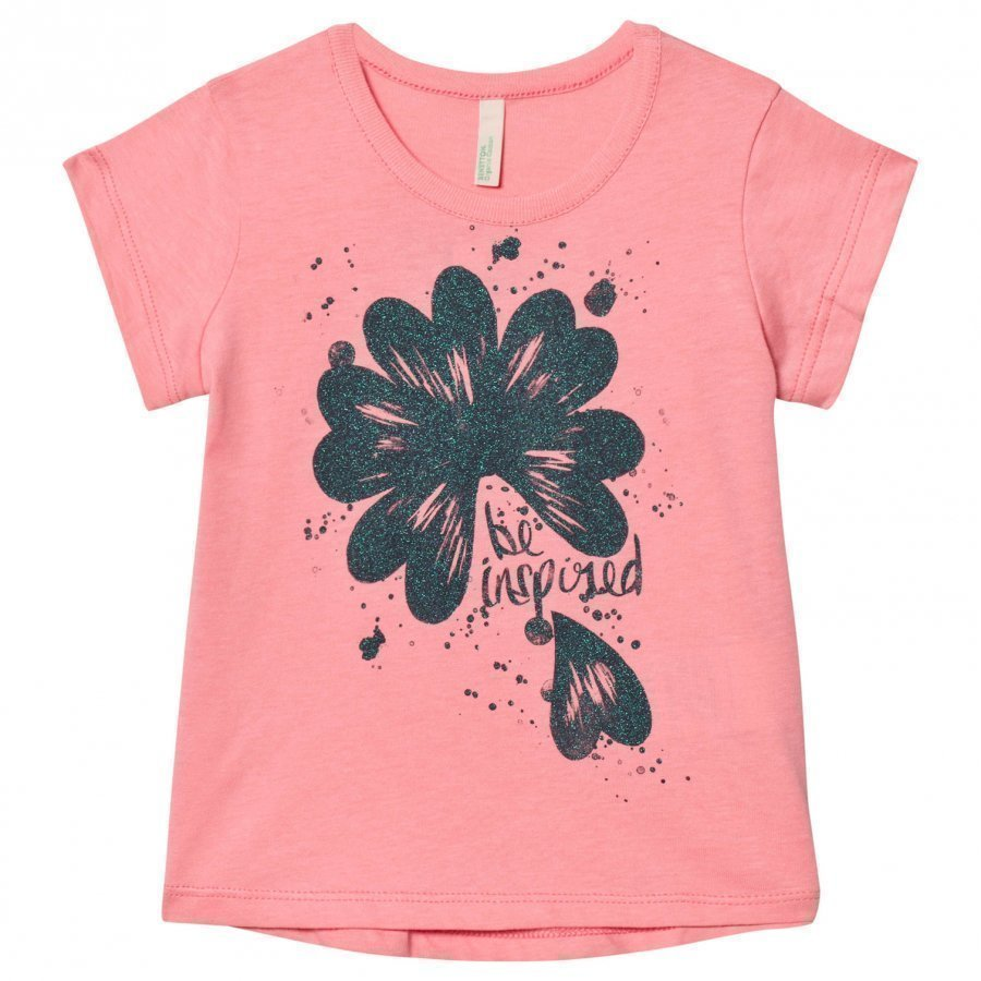 United Colors Of Benetton Glitter Flower Print T-Shirt Candy Pink T-Paita