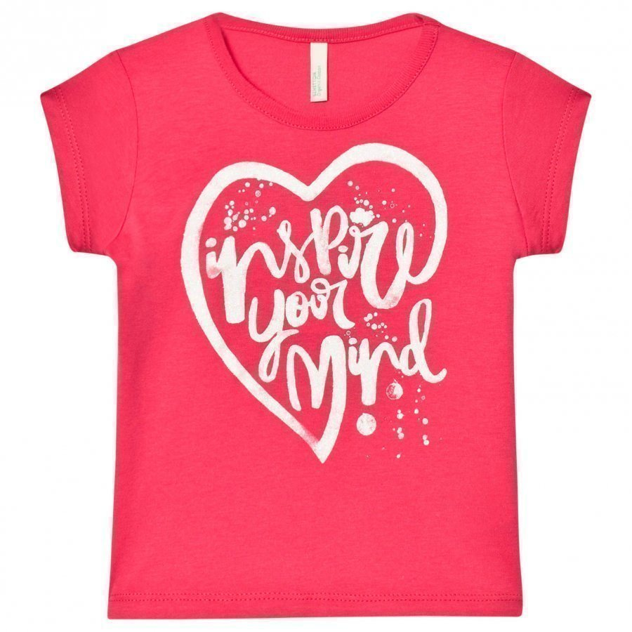 United Colors Of Benetton Glitter Heart Print Tee Fuschia Pink T-Paita