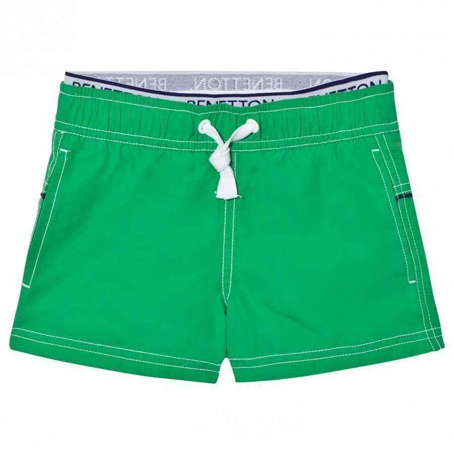 United Colors Of Benetton Green Swim Shorts With Logo Waist Band Uimashortsit