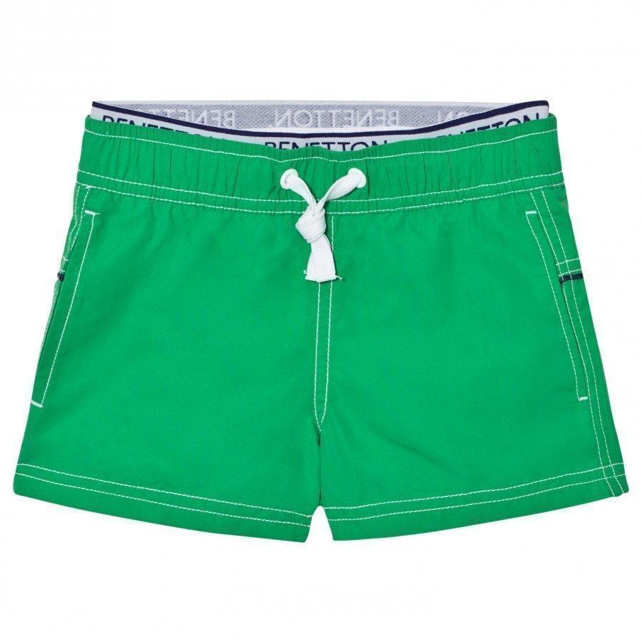 United Colors Of Benetton Green Swim Shorts With Logo Waist Band Uimashortsit
