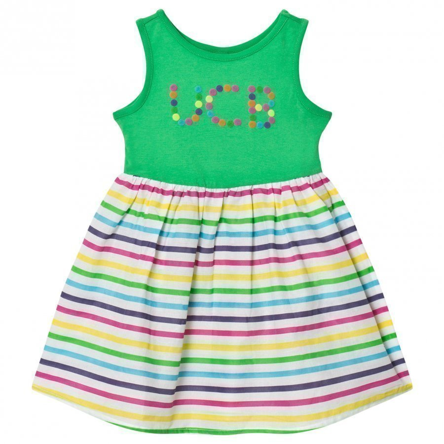United Colors Of Benetton Jersey Dress With Multi Color Stripe Skirt Lyhyt Hame