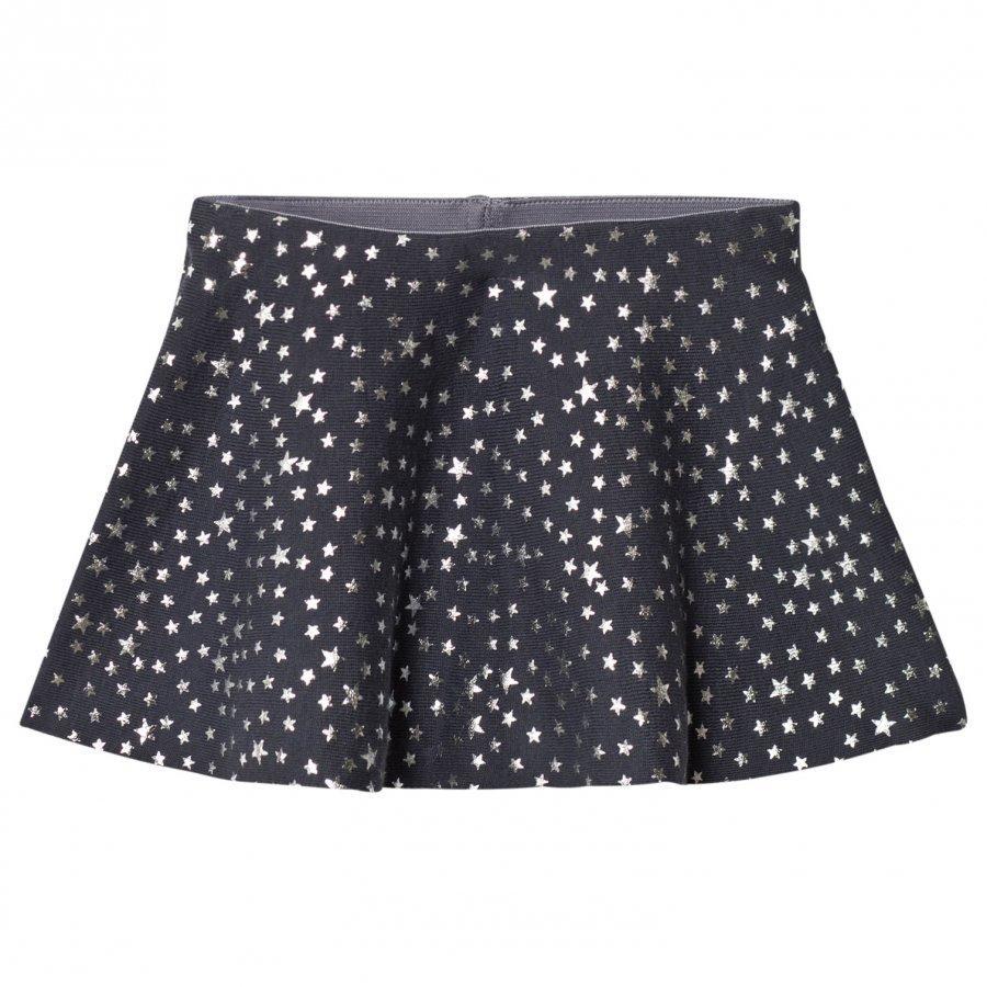 United Colors Of Benetton Knit Skirt Glitter Stars Dark Grey Lyhyt Hame