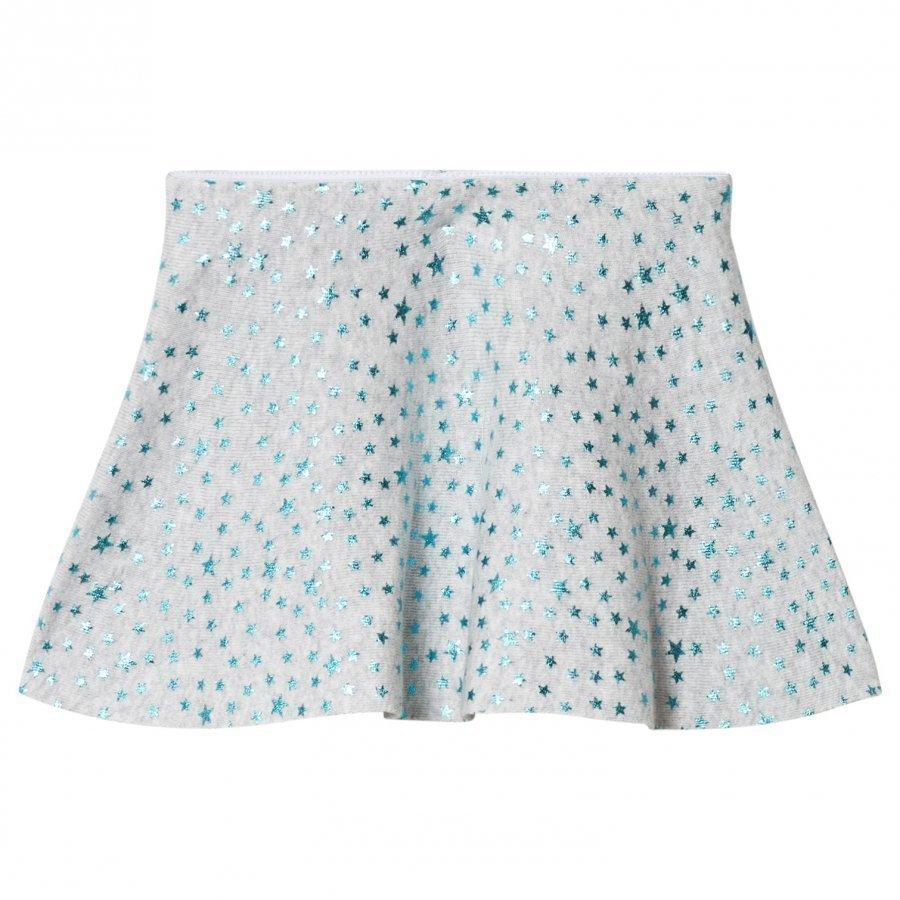 United Colors Of Benetton Knit Skirt Glitter Stars Light Grey Lyhyt Hame