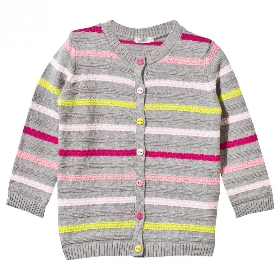 United Colors Of Benetton Knitted Striped Cardigan Grey Neuletakki