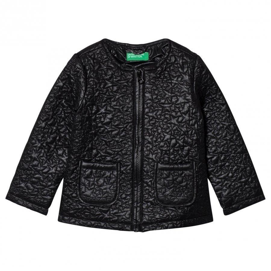 United Colors Of Benetton Light Weight Star Puffa Jacket Black Toppatakki