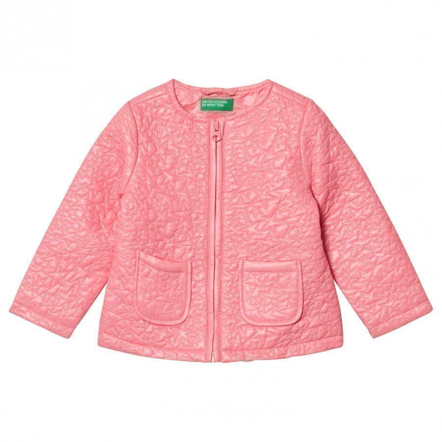 United Colors Of Benetton Light Weight Star Puffa Jacket Candy Pink Toppatakki